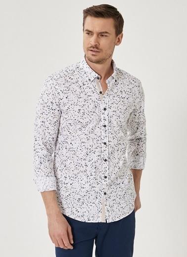 Beymen Business Slim Fit Baskılı Gömlek 4B2020200002 Beyaz